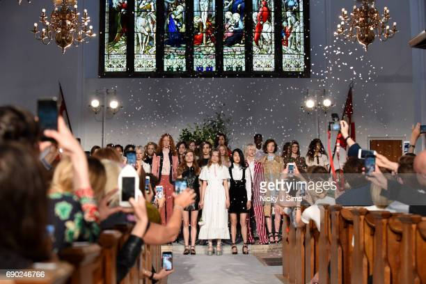 Models pose during the ALEXACHUNG London Launch and Collection Reveal on May 30 2017 in London England