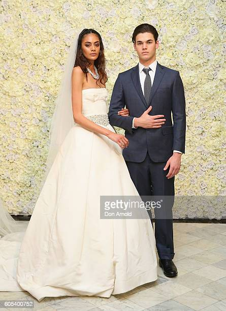 Models pose during the Australian showcase of Vera Wang Brides Spring 2017 Collection on September 14, 2016 in Sydney, Australia.