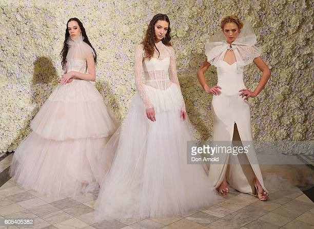 Models pose during the Australian showcase of Vera Wang Brides Spring 2017 Collection on September 14 2016 in Sydney Australia