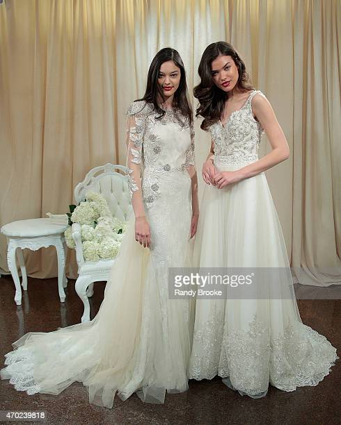 Models pose during the Badgley Mischka Bridal Spring/Summer 2016 presentation at Badgley Mischka Showroom on April 18, 2015 in New York City.