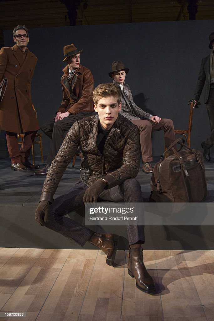 Models pose during the Berluti Men Autumn / Winter 2013 presentation at the Great Gallery of Evolution in the National Museum of Natural History, as part of Paris Fashion Week on January 18, 2013 in Paris, France.