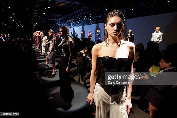 Models pose during the Catherine Malandrino fall 2012 presentation during MercedesBenz Fashion Week at Eyebeam 540 West 21st Street on February 12...