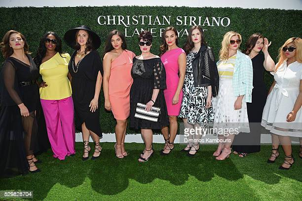 Models pose during the Christian Siriano x Lane Bryant Runway Show at United Nations on May 9 2016 in New York City