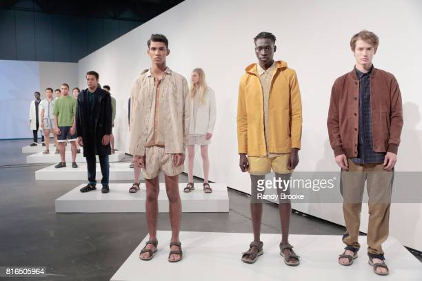 Models pose during the DDUGOFF Presentation NYFW: Men's at Jacob Javitz Center on July 17, 2017 in New York City.