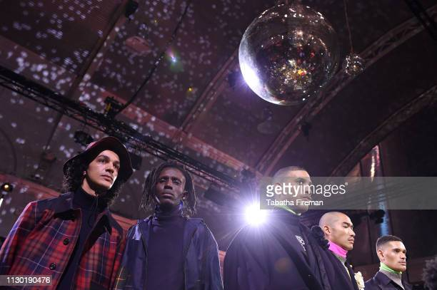 Models pose during the finale of the International Woolmark Prize 2019 Global Final at Lindley Hall on February 16 2019 in London England