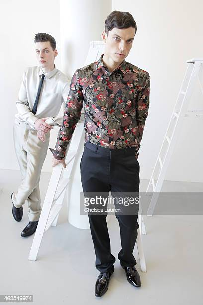 Models pose during the Franco Lacosta presentation on February 15 2015 in New York City