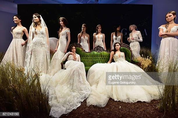 Models pose during the Galia Lahav Bridal Fashion Week Spring/Summer 2017 presentation on April 14 2016 in New York City