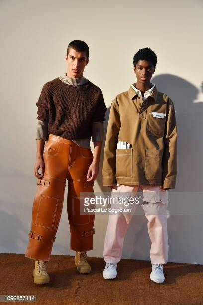 Models pose during the Jacquemus Menswear Fall/Winter 20192020 presentation as part of Paris Fashion Week on January 20 2019 in Paris France