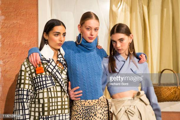 Models pose during the Jacquemus show as part of the Paris Fashion Week Womenswear Fall/Winter 2019/2020 on February 25 2019 in Paris France