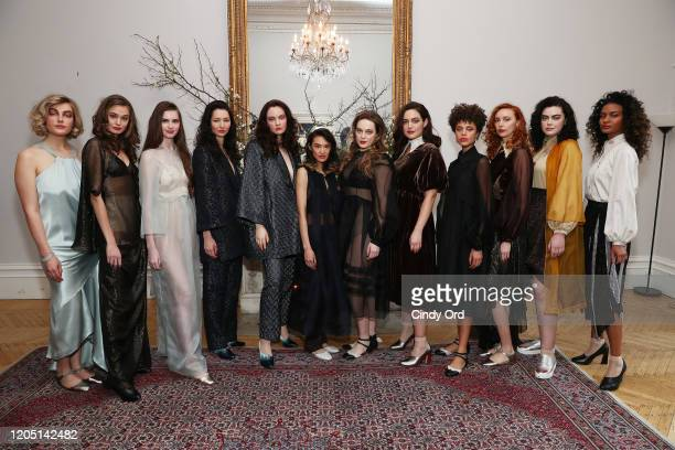 Models pose during the Jasmine Chong presentation during New York Fashion Week on February 09 2020 in New York City