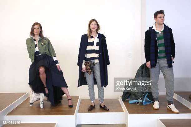 Models pose during the JCrew presentation at New York Fashion Week at Spring Studios on February 12 2017 in New York City