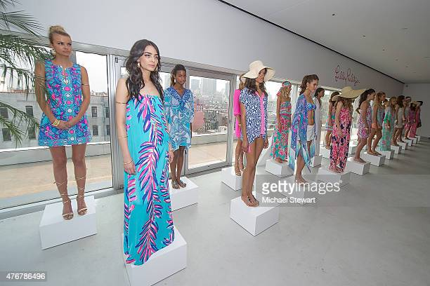 Models pose during the Lilly Pulitzer Resort 2016 Collection Presentation at the Sky Room at the New Museum on June 11 2015 in New York City