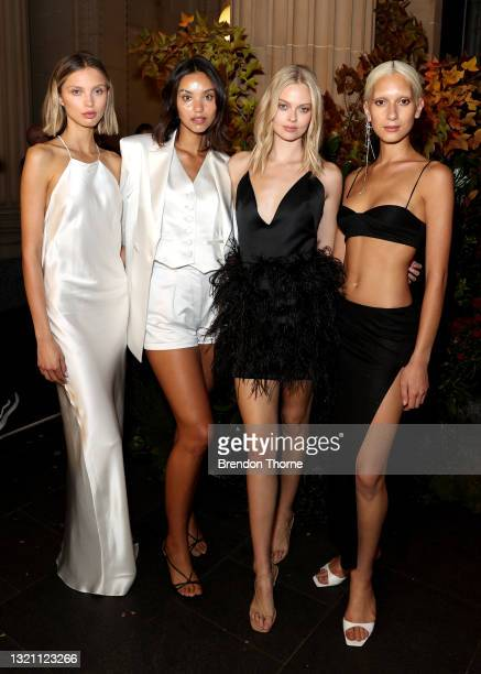 Models pose during the Michael Lo Sordo show during Afterpay Australian Fashion Week 2021 Resort '22 Collections at Bambini Trust on June 01, 2021 in...
