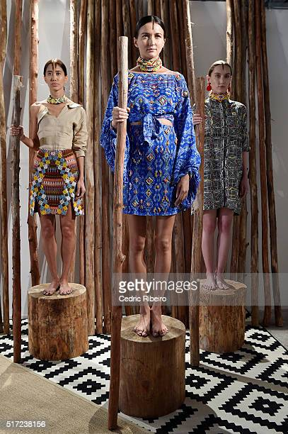 Models pose during the Mochi presentation during Dubai collections March 2016 by Emaar at Burj Khalifa on March 24 2016 in Dubai United Arab Emirates