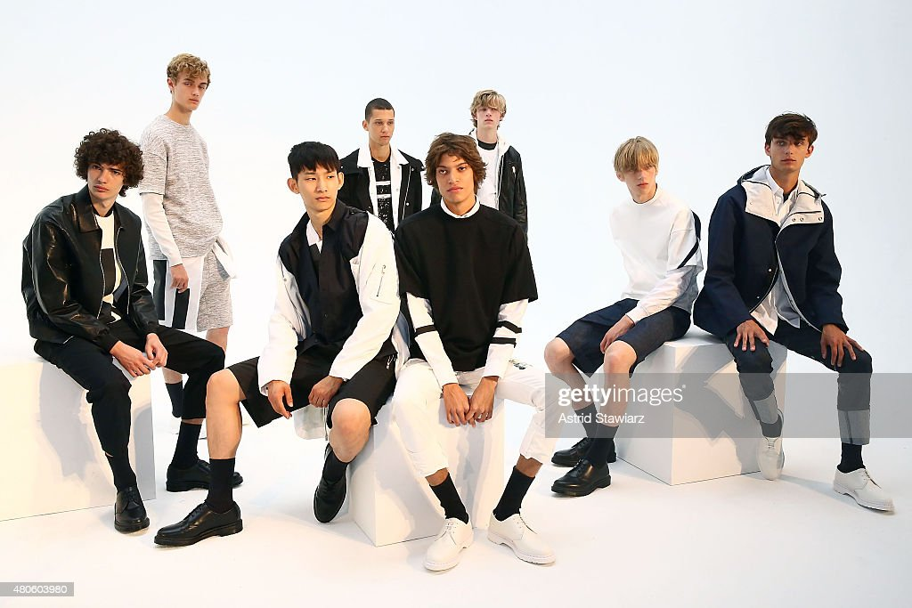 Models pose during the Plac Presentation during New York Fashion Week: Men's S/S 2016 at Industria Superstudio on July 13, 2015 in New York City.