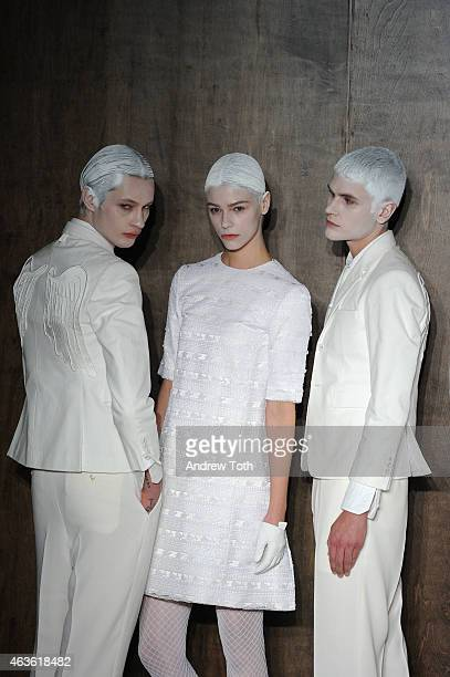 Models pose during the Thom Browne Women's fashion show during MercedesBenz Fashion Week Fall 2015 at Center 548 on February 16 2015 in New York City