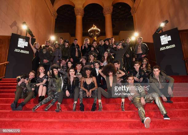 Models pose for a portrait at Los Angeles Fashion Week Powered by Art Hearts Fashion LAFW FW/18 10th Season Anniversary Backstage and Front Row Day 5...