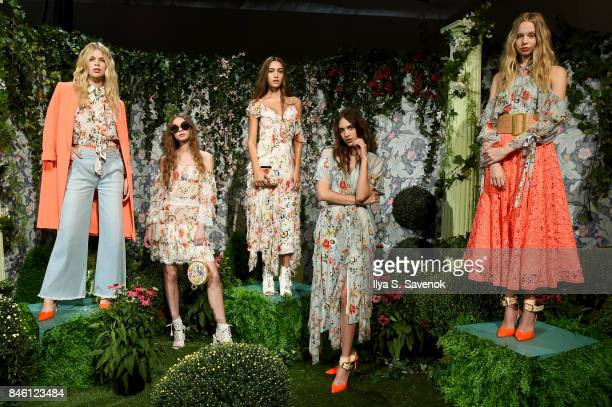 Models pose for aliceolivia by Stacey Bendet Spring 2018 Presentation at Skylight Clarkson Sq on September 12 2017 in New York City