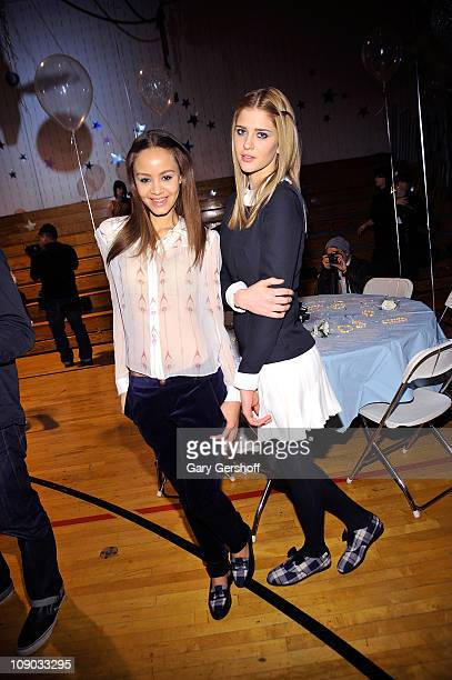 Models pose for pictures at the Rachel Antonoff Fall 2011 presentation during Mercedes-Benz Fashion Week at F.H. LaGuardia High School on February...