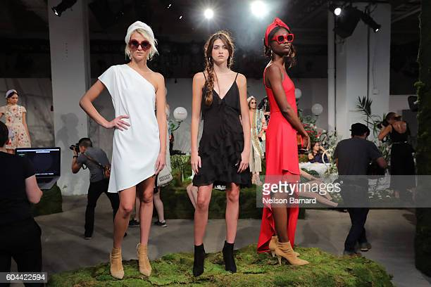 Models pose for the Alice Olivia By Stacey Bendet fashion show during New York Fashion Week September 2016 at The Gallery Skylight at Clarkson Sq on...