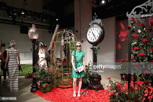 Models pose for the Alice Olivia by Stacey Bendet Spring/Summer 2017 Presentation during New York Fashion Week September 2016 at Skylight at Clarkson...