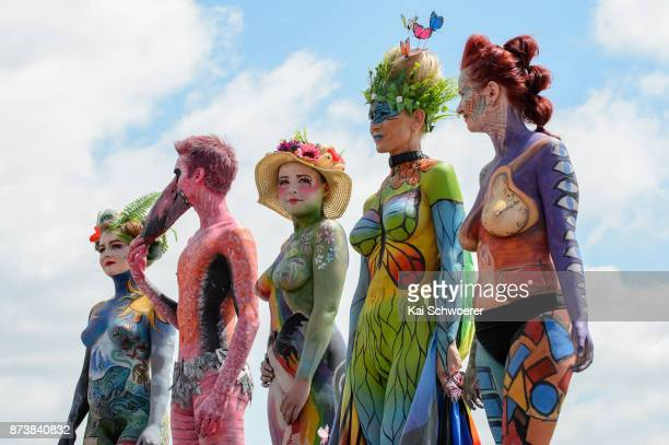 Models pose for the Body Art contest during New Zealand Trotting Cup Day at Addington Raceway on November 14 2017 in Christchurch New Zealand