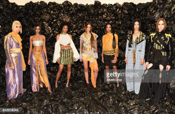 Models pose for the Kim Shui Presentation during New York Fashion Week at Century 21 on September 7 2017 in New York City