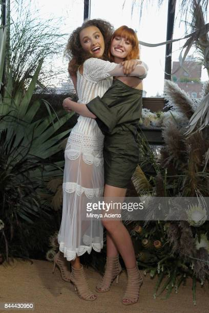 Models pose for the Nicole Miller fashion show during New York Fashion Week The Shows at Gramercy Terrace at The Gramercy Park Hotel on September 8...