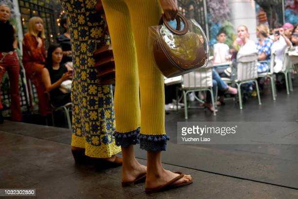 Models pose for the Staud Presentation during New York Fashion Week The Shows at Laudree on September 12 2018 in New York City
