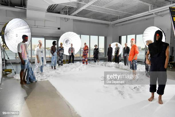 Models pose for the Taakk presentation during July 2018 New York City Men's Fashion Week at Creative Drive on July 9 2018 in New York City