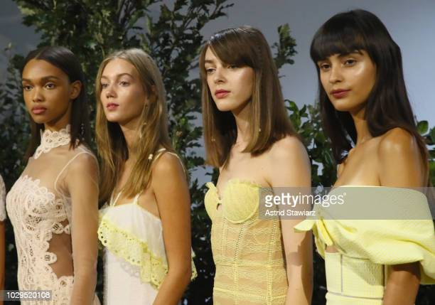 Models pose for TRESemme At Jonathan Simkhai on September 8 2018 in New York City