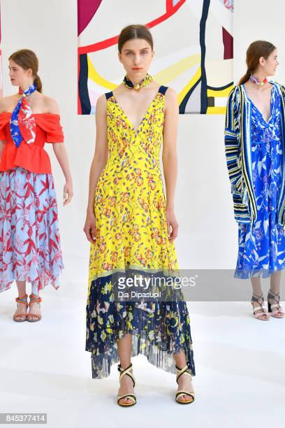 Models pose for TRESemme at Tanya Taylor presentation during New York Fashion Week The Shows at Spring Studios on September 10 2017 in New York City