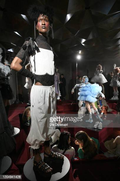 Models pose for Wiederhoeft Fall / Winter 2020 New York Fashion Week Presentation The Music Box at Sunken Living Room at Spring Studios on February...