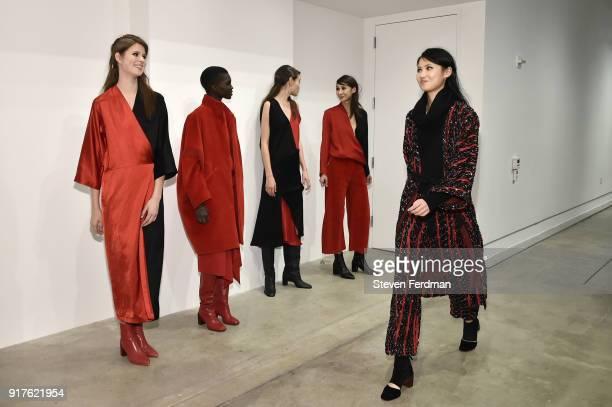 Models pose for Zero Maria Cornejo Presentation during New York Fashion Week on February 12 2018 in New York City
