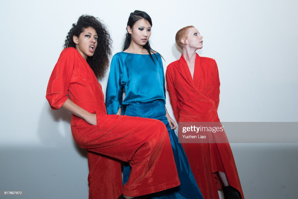 Models pose for Zero + Maria Cornejo - Presentation - February 2018 - New York Fashion Week on February 12, 2018 in New York City.