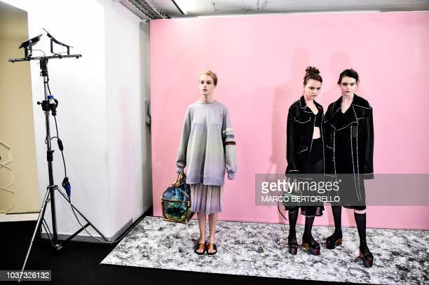 Models pose in first looks backstage prior to the presentation of Marco De Vincenzo fashion house during the Women's Spring/Summer 2019 fashion shows...
