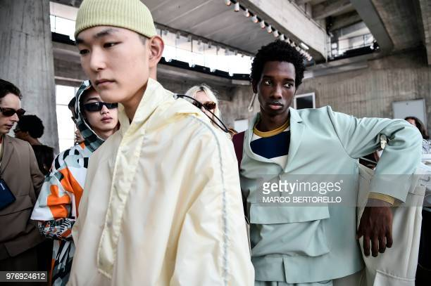 Eyewear detail runway at the Sunnei show during Milan Men's Fashion Week Spring/Summer 2019 on June 17 2018 in Milan Italy