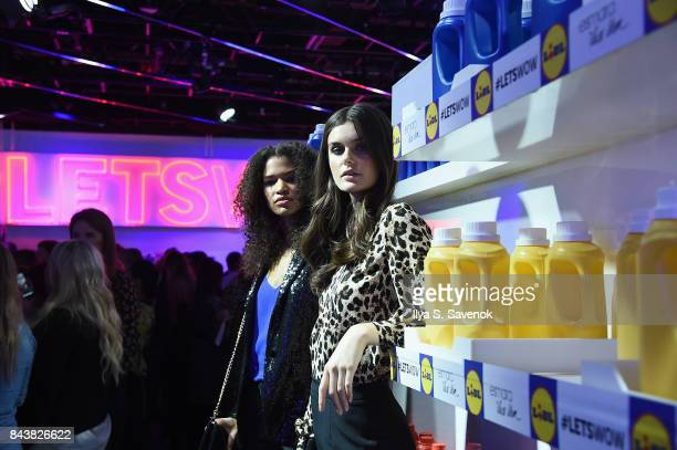 Models pose in the grocery store inspired presentation space during the Esmara By Heidi Klum Lidl Fashion Presentation at New York Fashion Week...