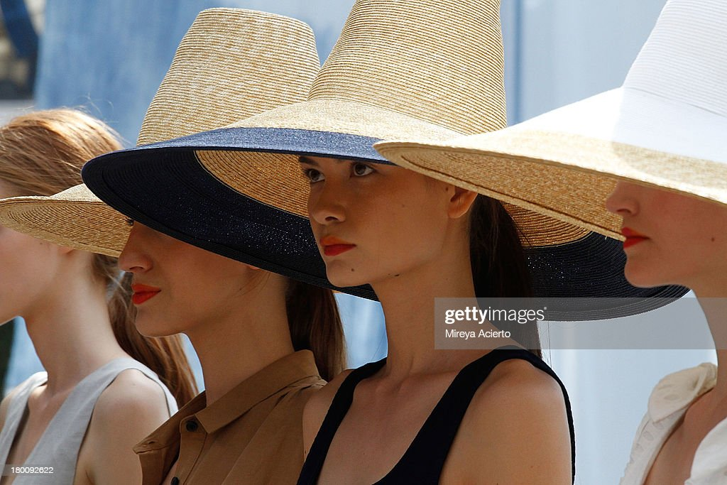 Models pose on runway at Creatures of Comfort Presentation at Maritime Hotel on September 8, 2013 in New York City.
