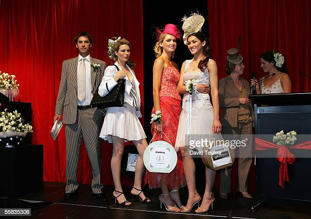 Models pose on stage, Jamie wearing a Dom Bagnato design, Grace wearing a john Cavill design, Vanessa wearing a Lisa Barron design, Silvana wearing a...