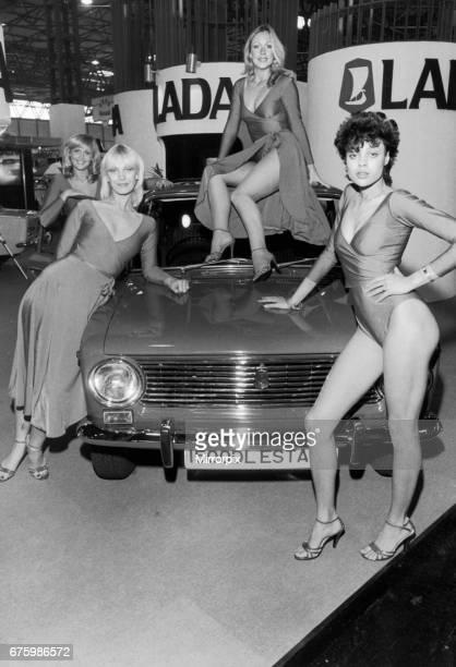 Models pose on the Lada stand at the 1984 Motor Show at the NEC. 24th October 1980.