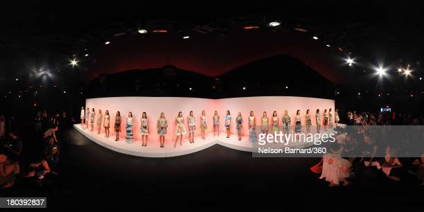 Models pose on the runway at the Clover Canyon fashion show during MercedesBenz Fashion Week Spring 2014 on September 11 2013 in New York City