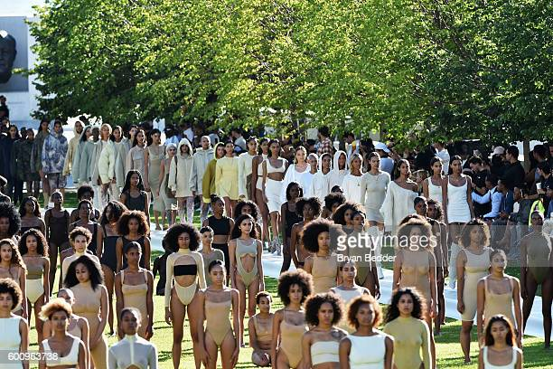 Models pose on the runway at the Kanye West Yeezy Season 4 fashion show on September 7 2016 in New York City