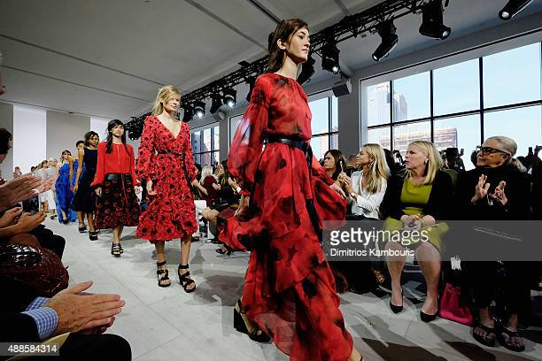 Models pose on the runway at the Michael Kors Spring 2016 Runway Show during New York Fashion Week The Shows at Spring Studios on September 16 2015...