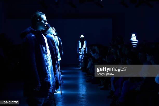 Models pose on the runway during the Boris Bidjan Saberi Menswear Fall/Winter 20192020 show as part of Paris Fashion Week on January 17 2019 in Paris...