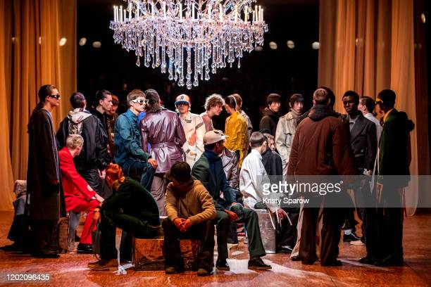 Models pose on the runway during the Off-White Menswear Fall/Winter 2020-2021 show as part of Paris Fashion Week on January 15, 2020 in Paris, France.