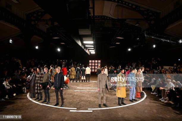 Models pose on the runway during the Rhude Menswear Fall/Winter 2020-2021 show as part of Paris Fashion Week on January 14, 2020 in Paris, France.