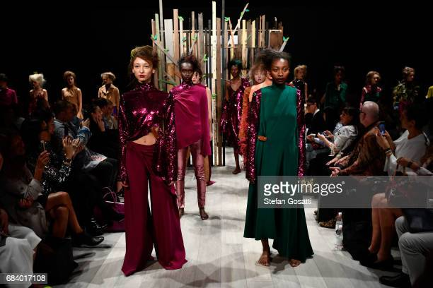 Models pose on the runway during the Yousef Akbar show at MercedesBenz Fashion Week Resort 18 Collections at Carriageworks on May 17 2017 in Sydney...