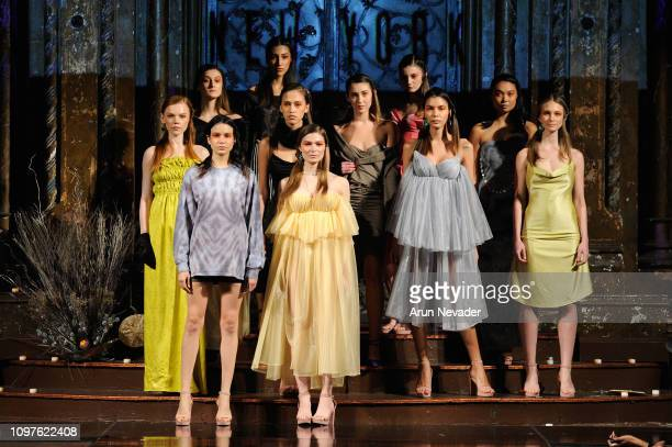 Models pose on the runway for HELEN CASTILLO NEW YORK At New York Fashion Week Powered By Art Hearts Fashion NYFW at The Angel Orensanz Foundation on...