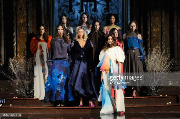 Models pose on the runway for THY At New York Fashion Week Powered By Art Hearts Fashion NYFW at The Angel Orensanz Foundation on February 10 2019 in...